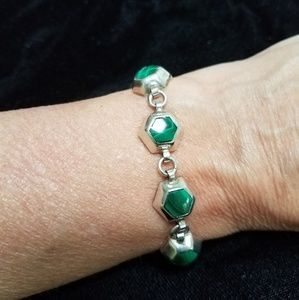 Taxco Mexican Sterling Malachite Bracelet